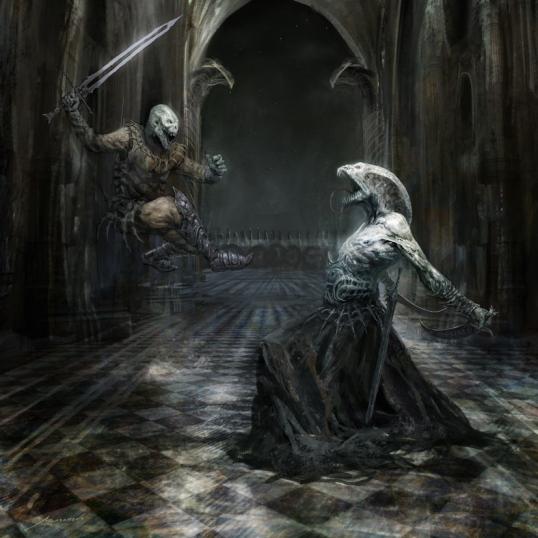 Imagen de un Hombre Serpiente vs Hombre Cobra (del genial Manzanedo).